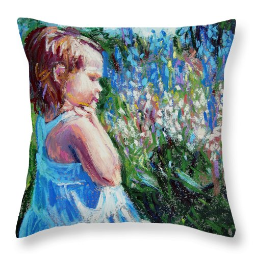 Girl Throw Pillow featuring the painting Miss Busy Bee by Bethany Bryant