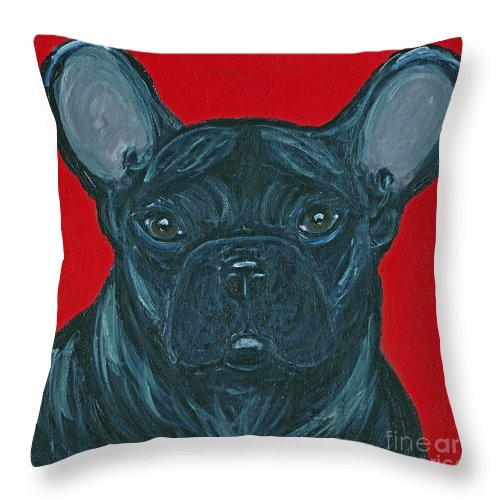 French Bulldog Throw Pillow featuring the painting Miss Diva by Ania M Milo