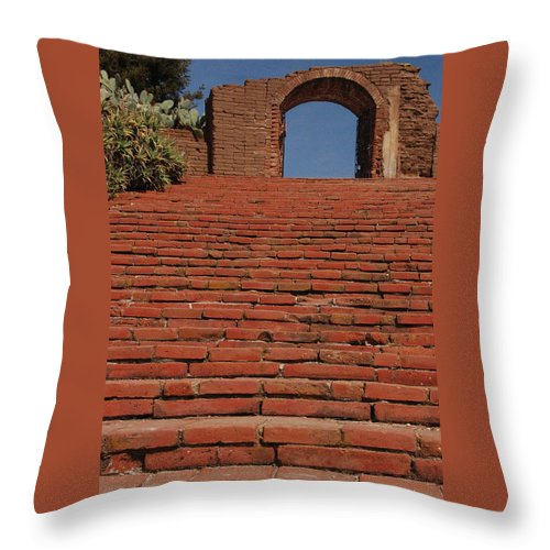 Mission Steps Path Arch Way Cactus Red Brick Blue Sky Incline Uphill Stone Walkway Throw Pillow featuring the photograph Mission by Gabe Arroyo