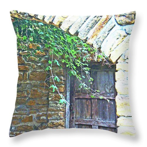 Mission Throw Pillow featuring the digital art Mission San Jose San Antonio Texas by Lizi Beard-Ward