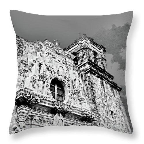 Black White Image Throw Pillow featuring the digital art Mission San Jose San Antonio Tx by Lizi Beard-Ward