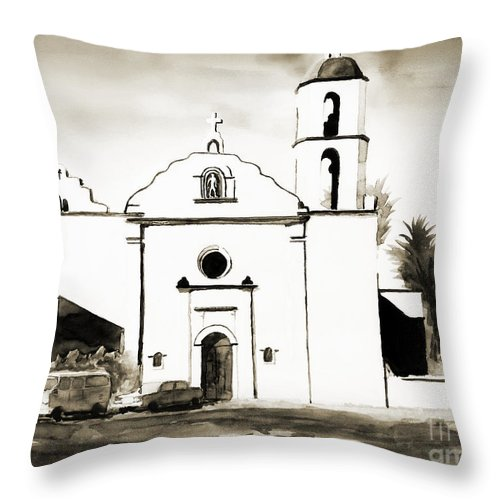 Mission Throw Pillow featuring the painting Mission San Luis Rey Bw by Kip DeVore