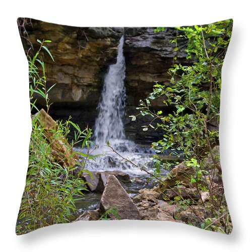 Waterfall Throw Pillow featuring the photograph Missouri Waterfall by Carolyn Fox