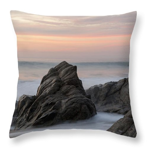 Beauty In Nature Throw Pillow featuring the photograph Mist Surrounding Rocks In The Ocean by Keith Levit