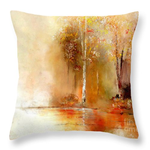 Autumn Throw Pillow featuring the painting Misty Autumn Morn by Susan Holsan