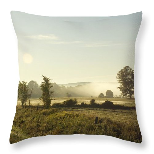 Morning Throw Pillow featuring the photograph Misty Lines by Elaine Mikkelstrup