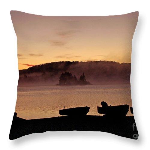 Misty Sunrise At Algonquin Provincial Park Throw Pillow featuring the photograph Misty Sunrise At Algonquin Provincial Park by Inspired Nature Photography Fine Art Photography