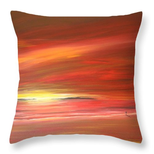 Sunset Throw Pillow featuring the painting Mitchell Beach Lost by Naomi Walker