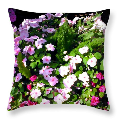Flower Flowers Garden Impatiens Shady Flora Floral Nature Natural Shady Pink Rose Throw Pillow featuring the painting Mixed Impatiens In Dappled Shade by Elaine Plesser