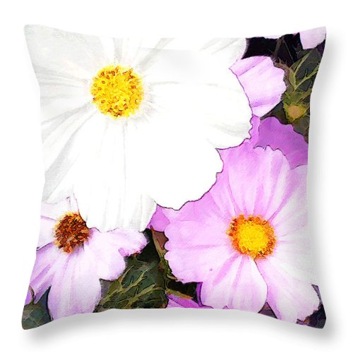 Flower Flowers Cosmos Garden Flora Floral Pink White Nature Natural Bloom Blooms Blossoms Blossom Bouquet Arrangement Colorful Plant Plants Botanical Botanic Blooming Gardens Gardening Tropical Annuals Perennials Throw Pillow featuring the painting Mixed Pink And White Cosmos by Elaine Plesser