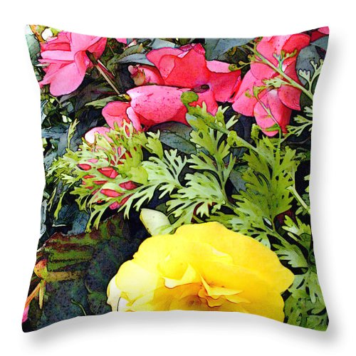 Flower Flowers Garden Ranunculus Impatiens Flora Floral Nature Natural Bloom Blooms Blossoms Blossom Bouquet Arrangement Colorful Plant Plants Botanical Botanic Blooming Gardens Gardening Tropical Annual Annuals Perennial Perennials Bulb Bulbs Throw Pillow featuring the painting Mixed Ranunculus In A Basket by Elaine Plesser
