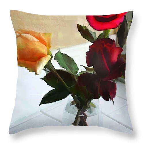 Flower Flowers Garden Roses Vase Window Flora Floral Nature Natural Rose Crystal+vase Tiles Red+rose Yellow+rose Throw Pillow featuring the painting Mixed Roses In Crystal Vase by Elaine Plesser