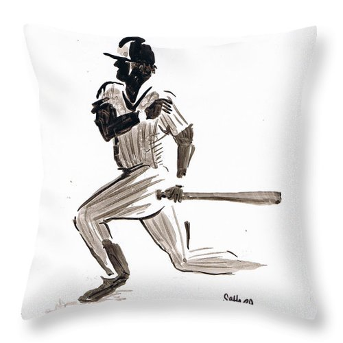 Mlb Base Hit Throw Pillow featuring the drawing Mlb Base Hit by Seth Weaver