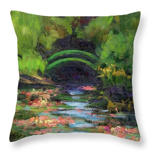 Monet's Water Lily Garden Throw Pillow featuring the painting Momet's Water Lily Garden Toward Evening by Diane McClary