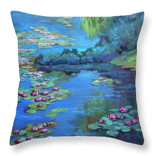 Monet's Garden Throw Pillow featuring the painting Monet's Garden by Diane McClary
