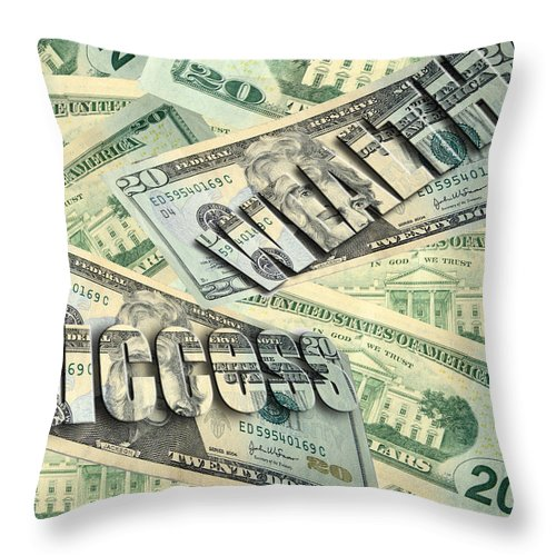 Twenty Throw Pillow featuring the photograph Money Wealth And Success by Cindy Haggerty