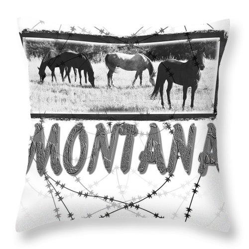 Montana Art Throw Pillow featuring the digital art Montana Horse Design by Susan Kinney