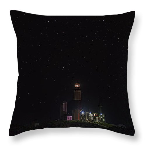 Montauk Throw Pillow featuring the photograph Montauk Starry Night by William Jobes
