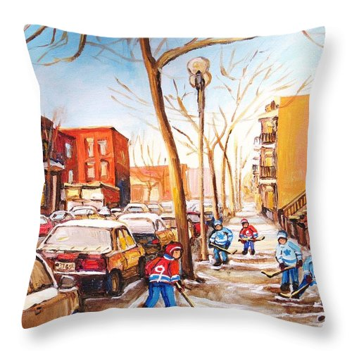 Montreal Street Scene With Boys Playing Hockey Throw Pillow featuring the painting Montreal Street With Six Boys Playing Hockey by Carole Spandau
