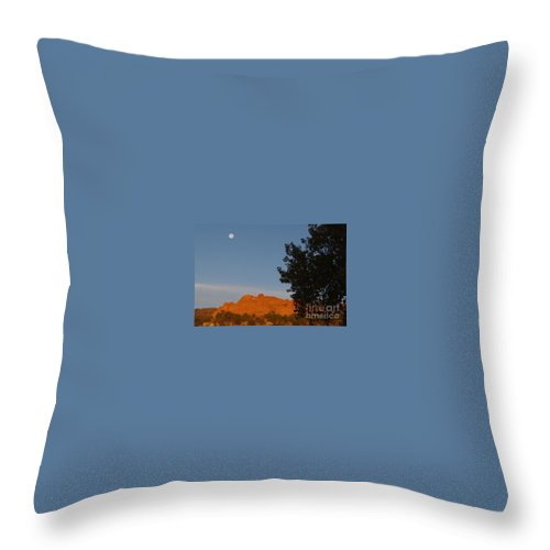 Moon Throw Pillow featuring the photograph Moon Above Kissing Camels by Brandi Christon