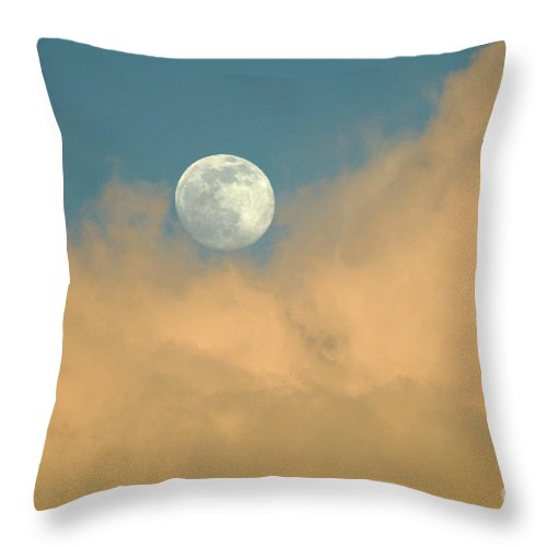 Hawaii Throw Pillow featuring the photograph Moon And Cloud by Bob Christopher