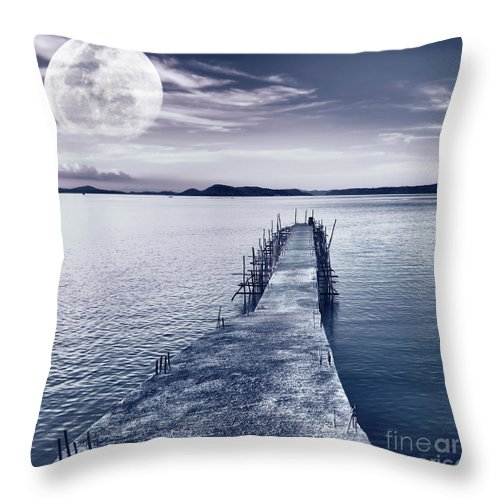 Moonlight Throw Pillow featuring the photograph Moon by MotHaiBaPhoto Prints