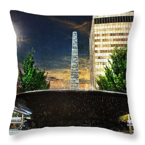 Asheville Throw Pillow featuring the photograph Moon Over Asheville by Gray Artus