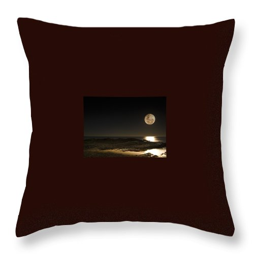 Moon Rise Throw Pillow featuring the photograph Moon Over Curumbin by Rebecca Akporiaye
