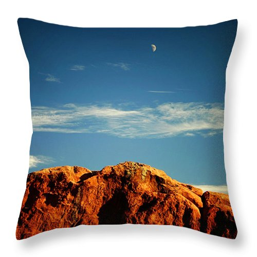 Landscape Throw Pillow featuring the photograph Moon Over Red Rocks Garden Of The Gods by Toni Hopper