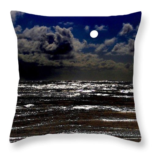 Full Moon Throw Pillow featuring the digital art Moon Over The Pacific by Will Borden
