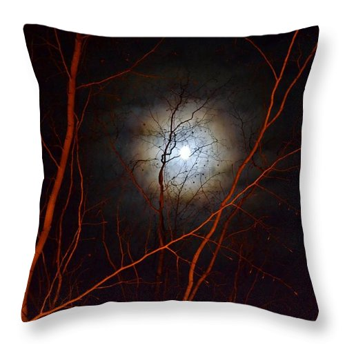 Moon Throw Pillow featuring the photograph Moonlight By The Camp Fire by Wanda J King