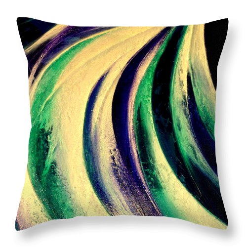 Light.moonlight.waterfall.sky.mountain.energy.water.landscape.movement. Throw Pillow featuring the painting Moonlight In Water Fall by Kumiko Mayer