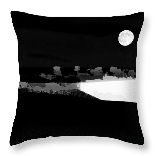 Ron Jones Throw Pillow featuring the digital art Moonrise Adams Country by Ron Jones