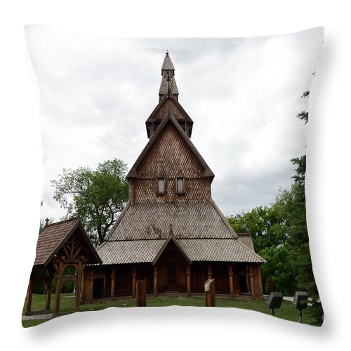 Moorhead Stave Church Throw Pillow featuring the photograph Moorhead Stave Church 1 by Cassie Marie Photography