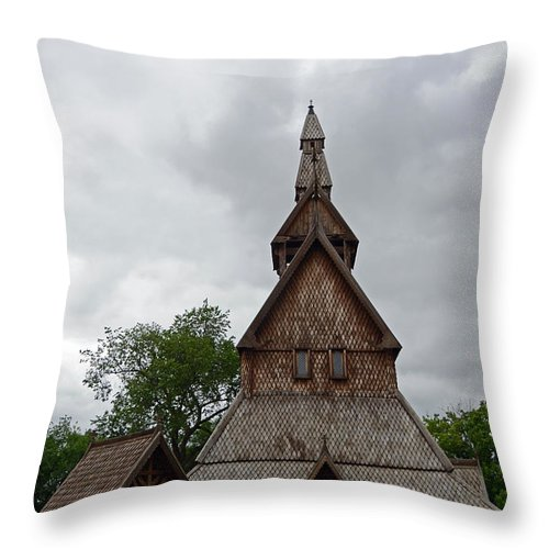 Moorhead Stave Church Throw Pillow featuring the photograph Moorhead Stave Church 2 by Cassie Marie Photography
