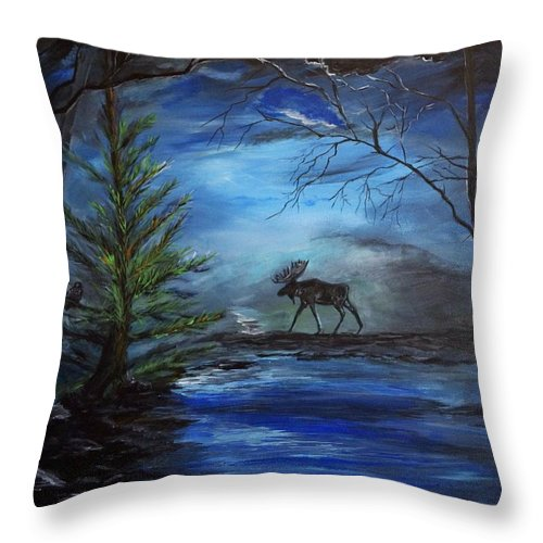 Moose Throw Pillow featuring the painting Moose Pond by Leslie Allen