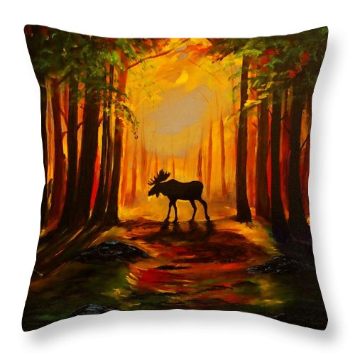 Moose Throw Pillow featuring the painting Moose Sunset by Leslie Allen