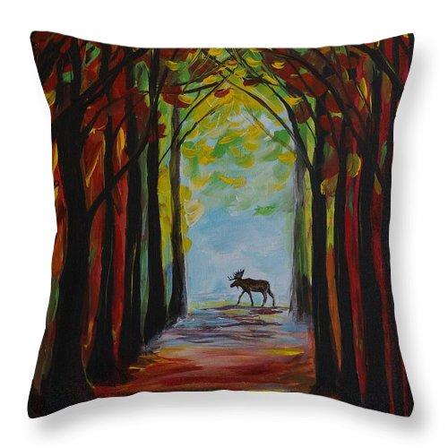 Moose Throw Pillow featuring the painting Moose Territory by Leslie Allen