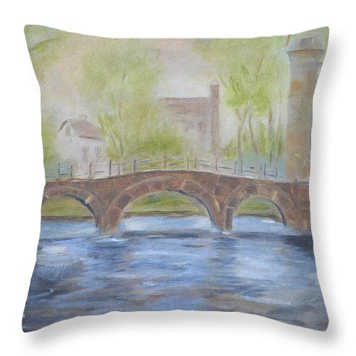 River Throw Pillow featuring the painting Morning On The Meuse by Patricia Caldwell