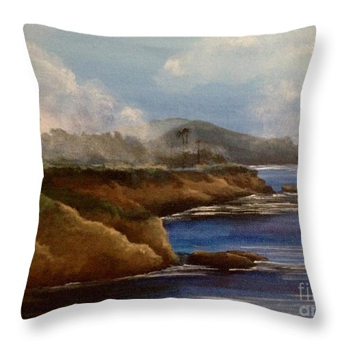 Seascape Throw Pillow featuring the painting Morning Promise by Barbara Gilroy