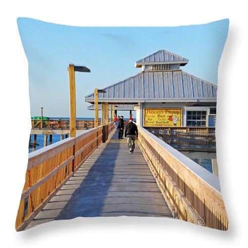 Fort Myers Beach Throw Pillow featuring the photograph Morning Walk by Gary Wonning