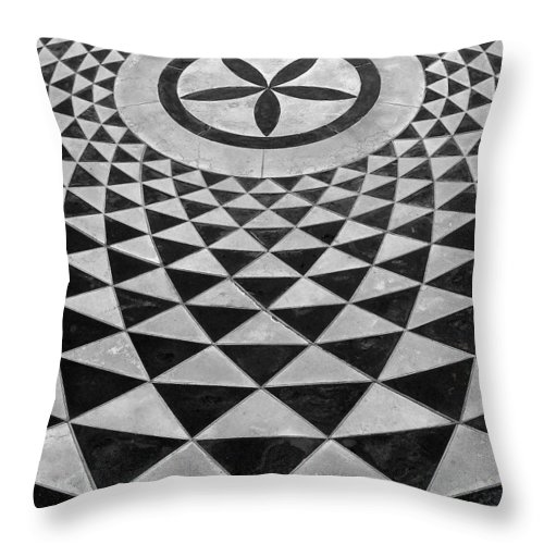 Black And White Throw Pillow featuring the photograph Mosaic Black And White Floor by Jeff Lowe