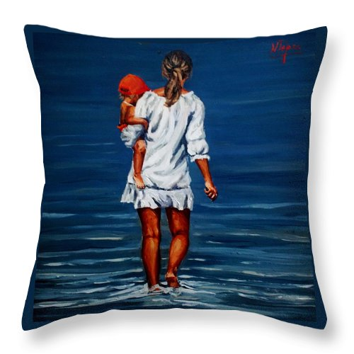 Mother Throw Pillow featuring the painting Mother And Baby by Natalia Tejera