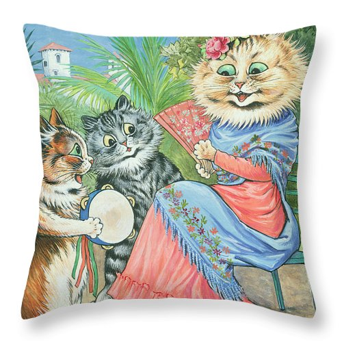Anthropomorphic Throw Pillow featuring the painting Mother Cat With Fan And Two Kittens by Louis Wain