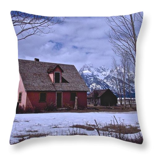 Grand Teton National Park Throw Pillow featuring the photograph Moulton's Pink House On Mormon Row by Eric Tressler
