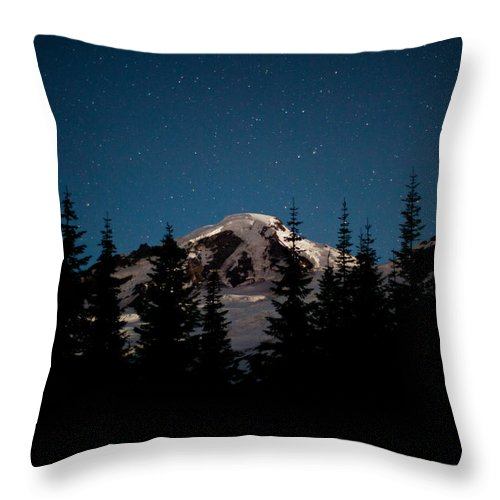 Mount Baker Throw Pillow featuring the photograph Mount Baker Starry Night by Mike Reid