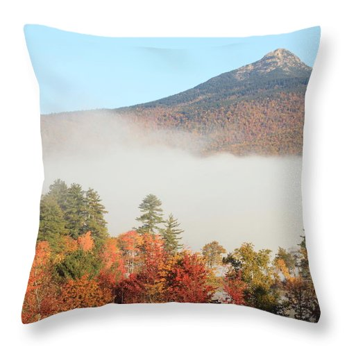 Autumn Throw Pillow featuring the photograph Mount Chocorua Autumn Fog by John Burk
