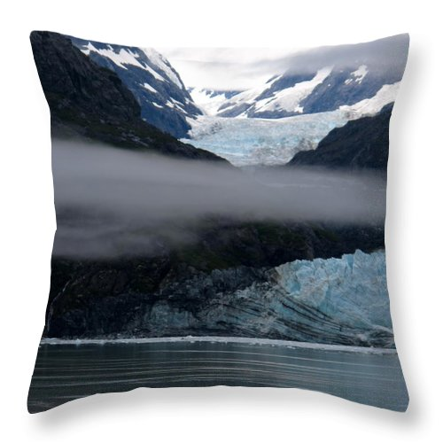 Glacier Throw Pillow featuring the photograph Mount Margerie At Glacier Bay Alaska Usa by Phyllis Kaltenbach