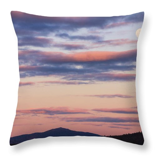 Mount Monadnock Throw Pillow featuring the photograph Mount Monadnock Full Moon Sunset by John Burk
