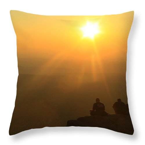 New Hampshire Throw Pillow featuring the photograph Mount Monadnock Hikers Sunset by John Burk